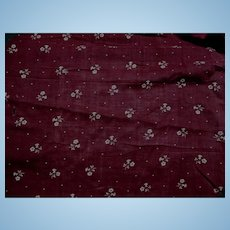 1 1/2 Yards Antique deep cranberry cotton roller print dolls FREE SHIPPING