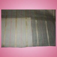 Antique Ca 1820 silk linen fabric unused breathtaking dolls