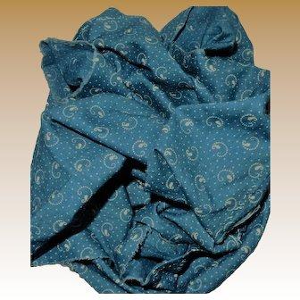 Antique Cabot? blue cotton fabric dolls women restoration quilts 3