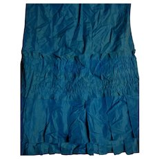 Antique blue silk fabric, ruching, and 2 tiers of box pleats large piece
