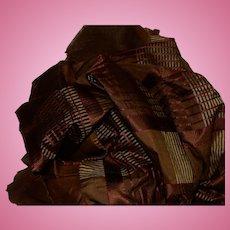 Antique silk Civil War era plaid silk fabric and lining dolls #6