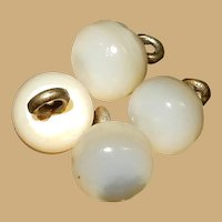"4 Antique 3/8"" pearly opalescent toned shoe buttons or dress buttons dolls women children"