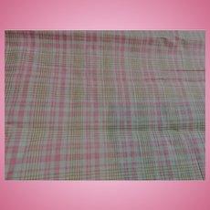 """Antique cotton pink plaid 26 1/2"""" selvages dolls"""