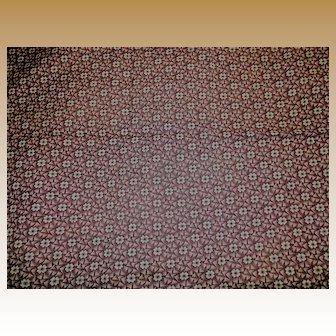 Antique DEEP cranberry cotton roller print fabric doll 1+ yard