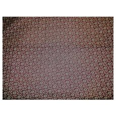 Antique DEEP cranberry cotton roller print fabric doll 1+ yard