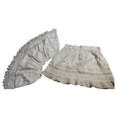 2 Antique child's laced trimmed cotton slips large doll
