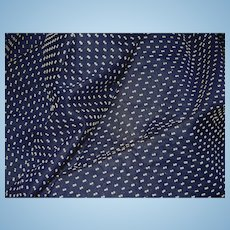 Vintage semi sheer navy Swiss blue polka dot thread dots dolls FREE SHIPPING