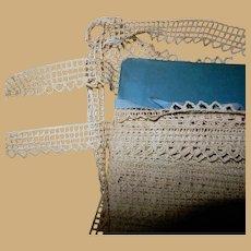 Antique warm mellow cotton trim tatting machine made dolls women restoration