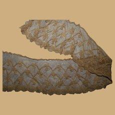 Antique detailed fine net lace tiny pattern dolls restoration #3