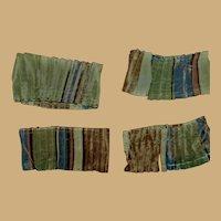4 Antique small knife pleated silk fabric  Ca 1865 Dolls Hurets