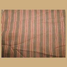 Antique roller print cotton turkey red Ca 1865 dolls restoration Enfantines