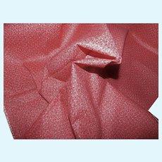 "Antique CRISP unused 25"" selvage double pink calico cotton"