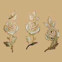 3 Antique silk embroidered rose appliques dolls women