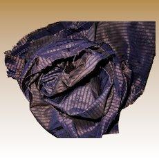 Antique Highly iridescent Ca 1850 silk fabric tiny stripes dolls restoration women Hurets Enfantines