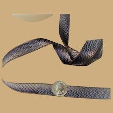 Antique metallic ribbon French from original roll women dolls decor