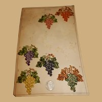 Antique French silk embroidered applique board grapes