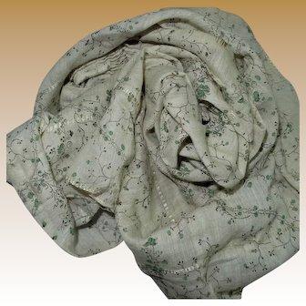 "Antique challis wool cotton blend 22"" selvages women dolls restoration 2"