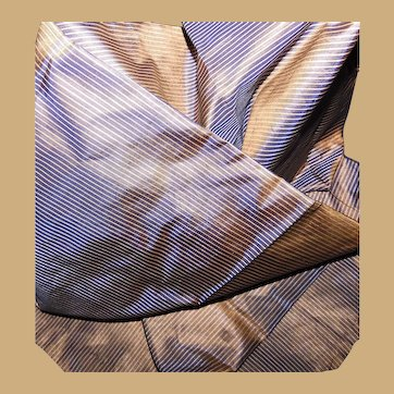 Antique Ca 1860 Iridescent small stripe silk taffeta fabric Enfantines restoration