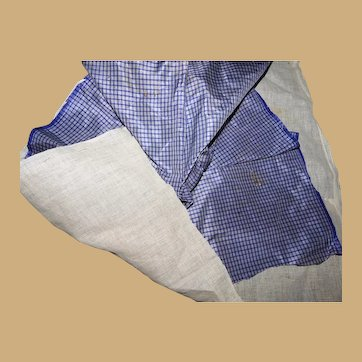 Antique small square pattern light wisteria taffeta silk and gauzy lining Enfantine