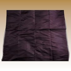 """Antique aubergine silk fabric 22"""" selvages dolls #2 FREE SHIPPING"""