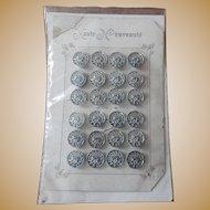 24 Matching vintage metal buttons haute nouveaute card dolls