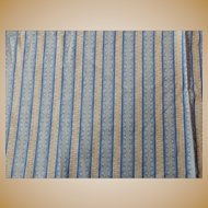 "Antique 25"" selvages roller print cotton blue dolls restoration"