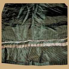 Antique silk taffeta fabric ruffle box pleating stripes dolls women restoration #3