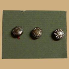 "Antique unusual small 1/4"" buttons metallic engraved dolls restoration women"