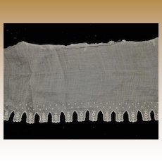 Antique embroidered batiste cotton fabric trim adorable dolls