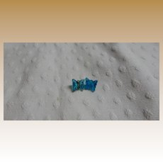 Antique blue glass teeny butterfly buttons doll