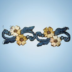 2 Pair of antique silk embroidered small flowers pair dolls FREE SHIPPING