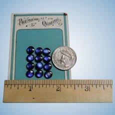 """12 Vintage blue domed buttons original card 5/16"""" dolls child women restoration"""