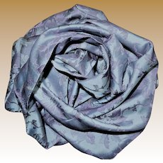 Antique blue silk fabric with pink brocade  intense colors