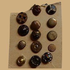 14 Antique selection of metal buttons dolls diminutive