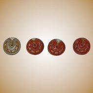 """4 Antique 5/16"""" horse shoe buttons dolls women restoration"""