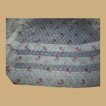 Antique embroidered dot sheer cotton with tucks and flower dolls
