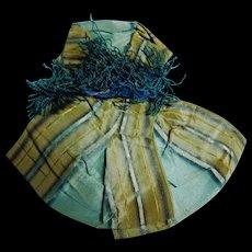 Antique Civil War era plaid silk bow with fringe dolls