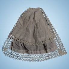 Antique 2 tiered doll apron cotton and lace