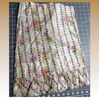 Antique muted silk fabric intricate pattern pinked ruffled edge #1