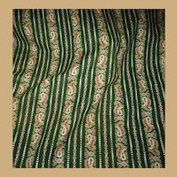 Antique Ca 1870 cotton paisley fabric unused feminine colors