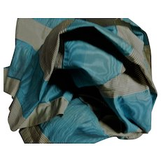 Antique luscious blue pattern moire silk Ca 1865 dolls #4