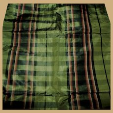 Antique Civil War plaid ombre pink green silk taffeta doll women restoration