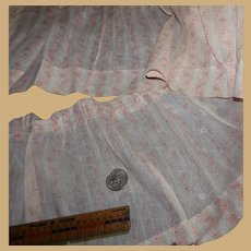 Antique pink pattern cotton sheer quality dolls Ca 1875 #1