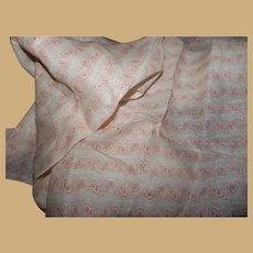 Antique sweet pink print cotton fabric Ca 1875 dolls