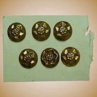 6 Antique raised pattern metal buttons brass toned dolls women restoration