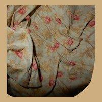 Antique cabbage rose cotton fabric Ca 1875 dolls women #2