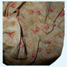 Antique cabbage rose cotton fabric Ca 1875 dolls women restoration #1