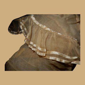 Antique Ca 1875 silk beribboned tulle ruffles doll restoration