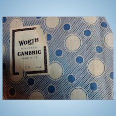 "Vintage 36"" selvages cambric cotton fabric blue"