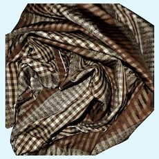 Antique silk tafetta Civil War plaid fabric small checks doll restoration #1